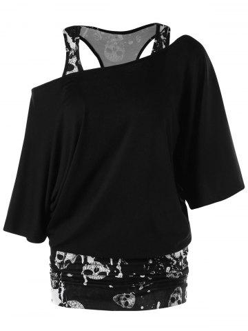 New Skulls Skew Collar Ruched T-shirt