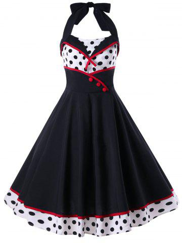 Fancy Polka Dot Print Halter Pin Up Dress