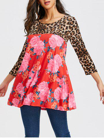 Floral and Leopard Print Tunic T-shirt