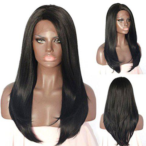 New Long Side Parting Straight Lace Front Synthetic Wig