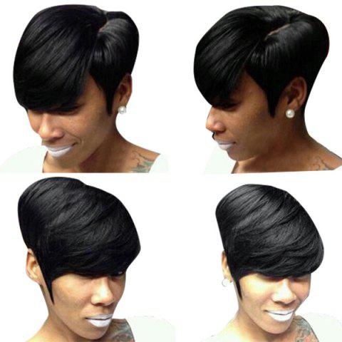 Fancy Short Side Parting Layered Straight Real Human Hair Wig