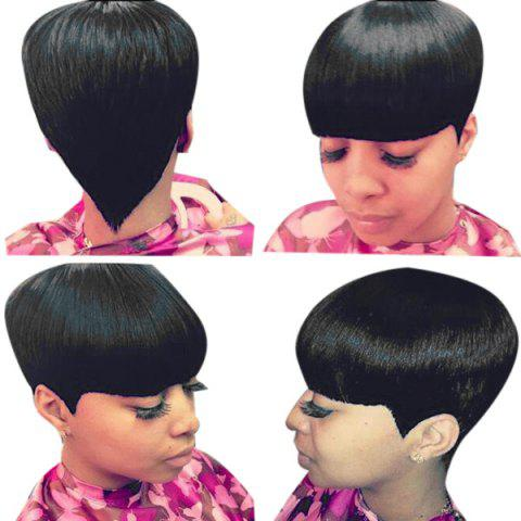 Discount Short Neat Bang Straight Human Hair Wig