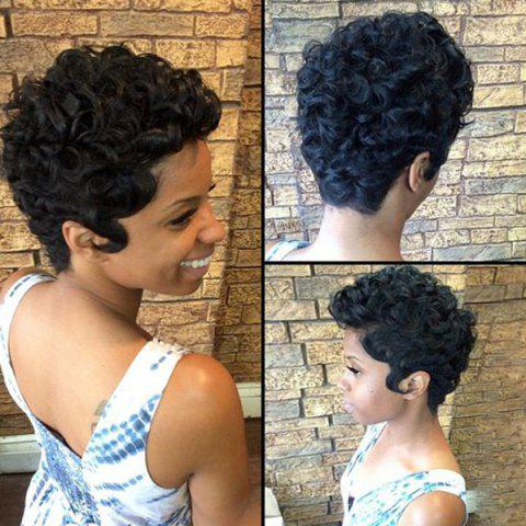 Affordable Short Layered Shaggy Curly Human Hair Wig