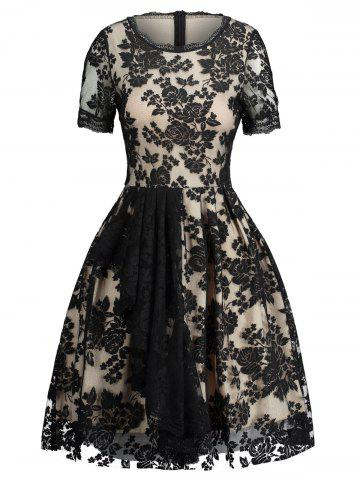 Trendy Jacquard Lace Panel Fit and Flare Dress