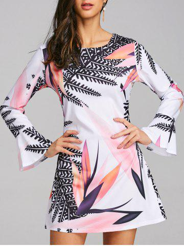 Shop Big Leaf Print Flare Sleeve Mini Dress