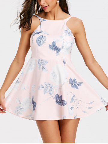 Shop Floral Leaf Print Backless Flare Dress