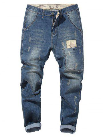 Store Camouflage Patch Drop Crotch Tapered Jeans