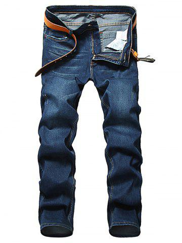 Zip Fly Straight Leg Jeans classique