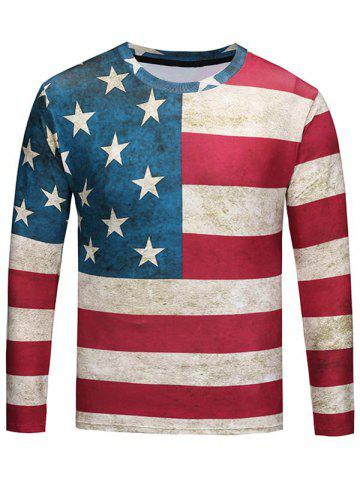 Crew Neck Distressed American Flag Print Tee