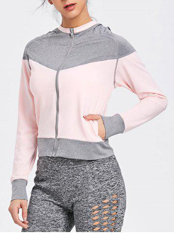 Discount Hooded Raglan Sleeve Two Tone Sports Jacket