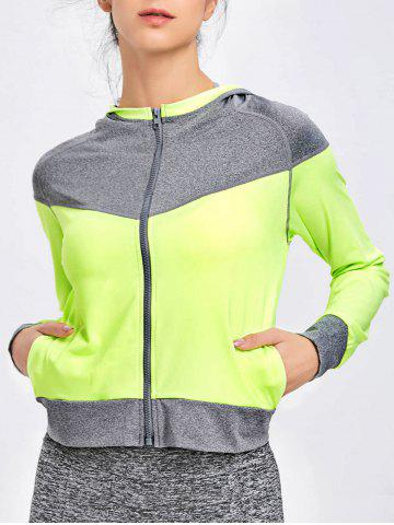 Outfit Hooded Raglan Sleeve Two Tone Sports Jacket