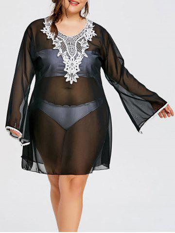 Unique Bell Sleeve Plus Size Sheer Applique Cover Up