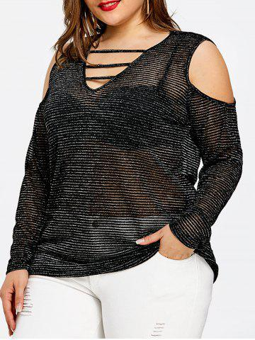 Store Sparkly Plus Size Ladder Cutout T-shirt