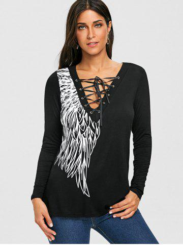 Long Sleeve Wing Print Lace Up Top