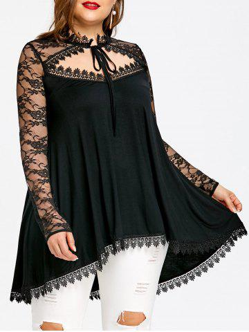 Fancy Plus Size Sheer Cut Out Dip Hem T-shirt