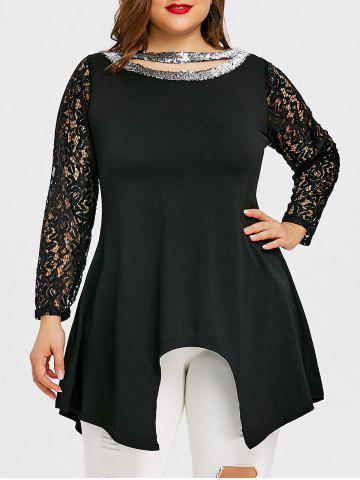 Latest Plus Size Cutout Sequin Asymmetric T-shirt