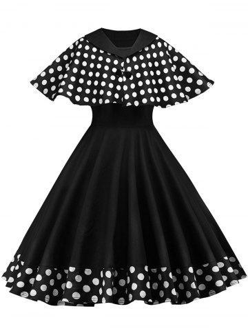 Chic Vintage Pin Up Dress With Polka Dot Cape