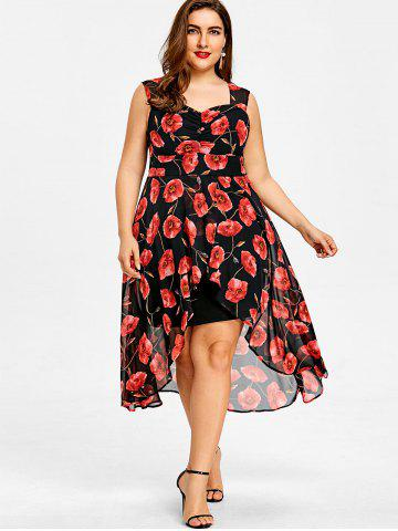Plus Size Sweetheart Neck Floral High Low Dress