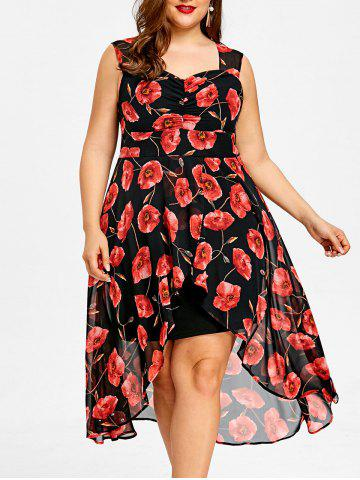 Fancy Plus Size Sweetheart Neck Floral High Low Dress