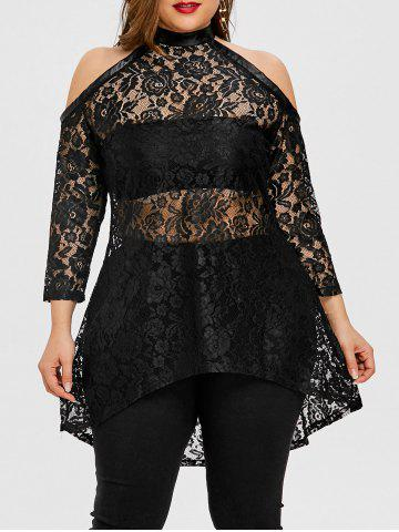 Store Plus Size High Low Floral Lace Top