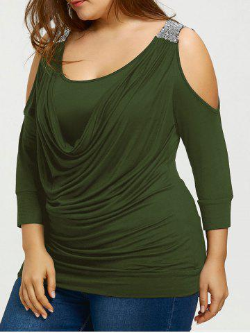 New Sequins Cold Shoulder Plus Size Draped Front T-shirt