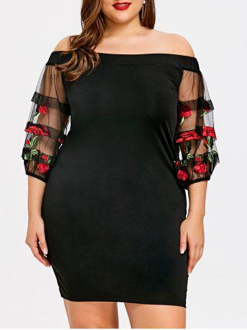Chic Plus Size Embroidery Lantern Sleeve Bodycon Dress