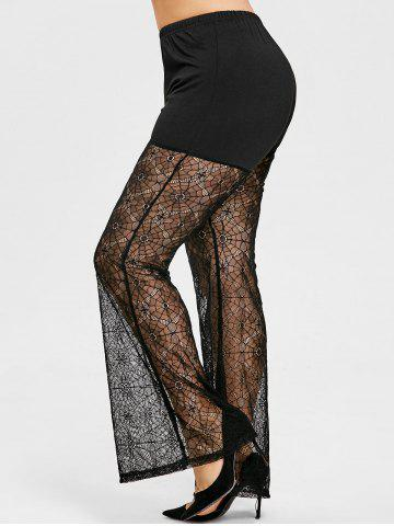 Cheap Spider Net Lace Plus Size Flare Leggings