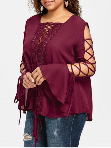 Affordable Plus Size Bell Sleeve Lace Up Blouse
