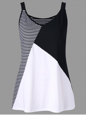 New Plus Size Striped V Neck Tank Top