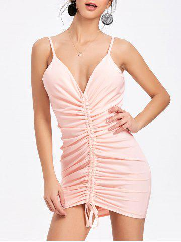 Outfits Cami Strap Plunging Neck Ruched Dress