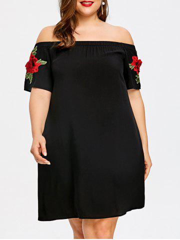 Cheap Plus Size Embroidered Off The Shoulder Trapeze Dress