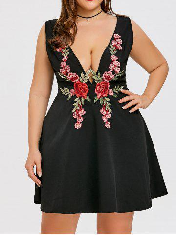 Best Embroidered Plus Size Plunge Party Dress