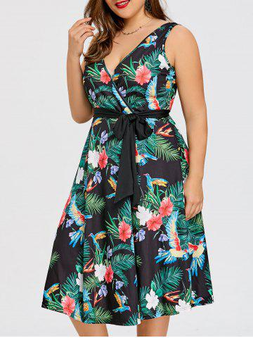 Buy Plus Size Tropical Midi Surplice Dress
