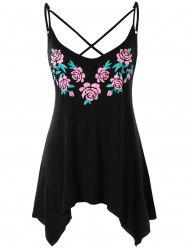 Plus Size Criss Cross Floral Tank Top -