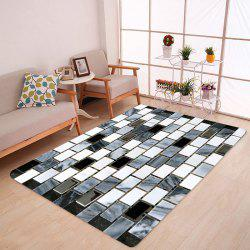 Ceramic Tile Pattern Anti-skid Water Absorption Area Rug - Black White - W47 Inch * L63 Inch