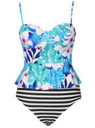 Floral Striped Peplum Tankini Set -