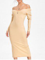 Long Sleeve Open Shoulder Ribbed Dress -