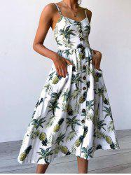 Spaghetti Strap Pineapple Printed Dress -