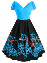 Plus Size Flare Kitten Vintage Dress -