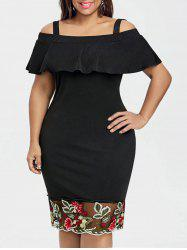 Plus Size Open Shoulder Flounce Embroidered Dress -