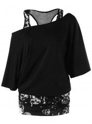 Skulls Skew Collar Ruched T-shirt -