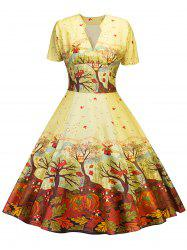 Retro Forest Printed Pin Up Dress -