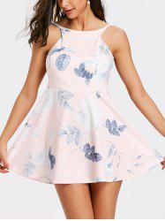 Floral Leaf Print Backless Flare Dress -