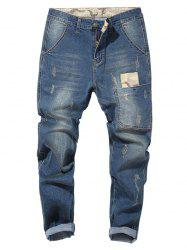 Camouflage Patch Drop Crotch Tapered Jeans -