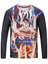 Crew Neck Long Sleeve Anime Print T-shirt -
