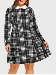 Plus Size Flat Collar Plaid Dress -