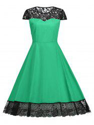 Lace Trim Vintage Flare Dress -