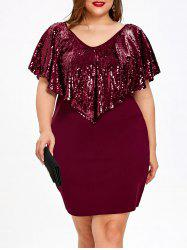 Plus Size Short Sleeve Sequined Capelet Dress -