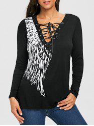 Long Sleeve Wing Print Lace Up Top -