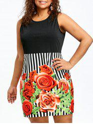 Plus Size Floral and Striped Sleeveless Sheath Dress -